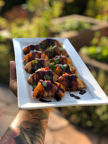 Grilled Bacon-Wrapped Peaches