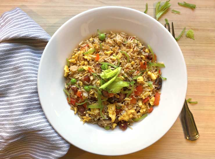 Fried rice with bacon lardons