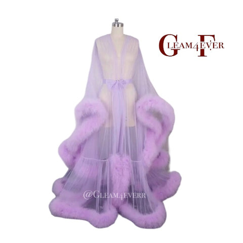 Lilac marabou feather robe