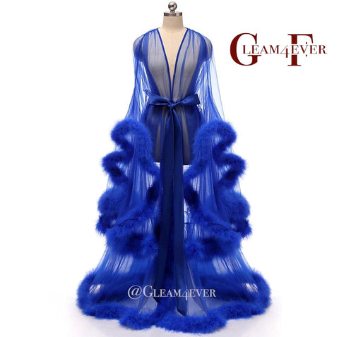 'Sugar daddy' Royal Blue Handmade Sheer Fluffy Long Marabou Feather Robe UK