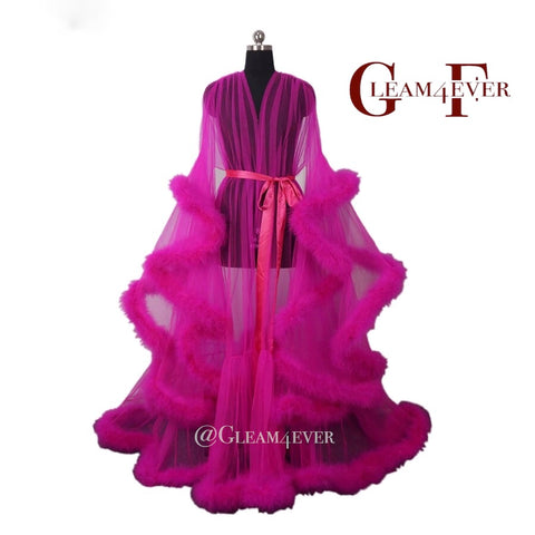 'Sugar daddy' Hot Pink Handmade Sheer Fluffy Long Marabou Feather Robe UK