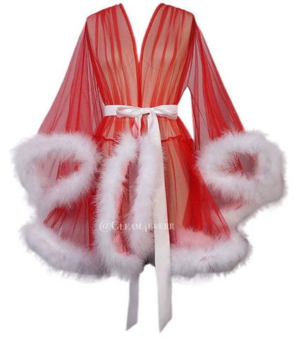 'Night In' Limited Edition Red and White Handmade Mini Feather Robe