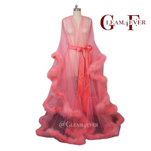 Peach long marabou robe
