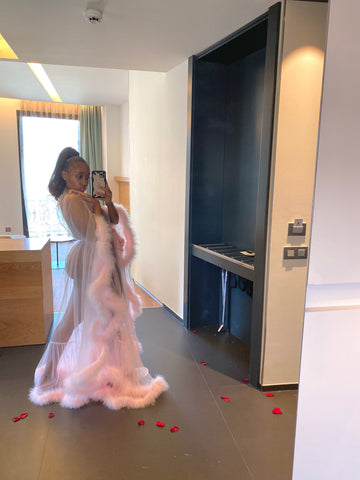 'Marry me' Pink Handmade Sheer Extra Fluffy Bridal Feather Robe