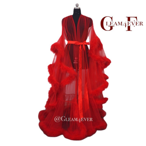 Red burlesque feather robe
