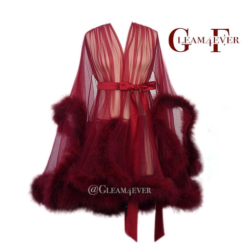 'Night In' Burgundy Handmade Mini Sheer Feather Robe