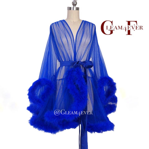 'Night In' Royal Blue Handmade Mini Sheer Feather Robe