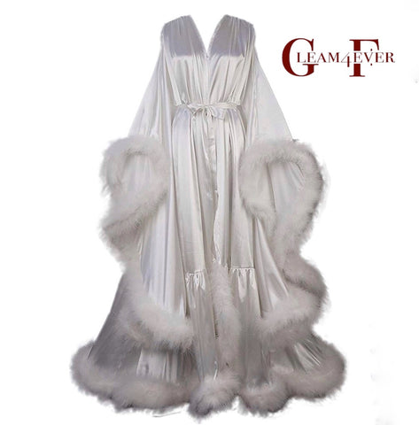 'Bride To Be' White Handmade Satin Long Bridal Feather Robe
