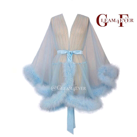 *NEW* 'Night In' Baby Blue Handmade Mini Sheer Feather Robe