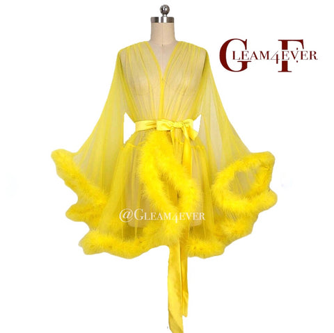 'Night In' Yellow Handmade Mini Sheer Feather Robe