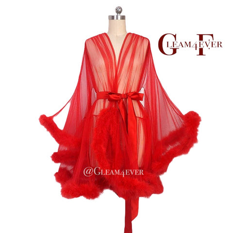 'Night In' Red Handmade Mini Sheer Feather Robe