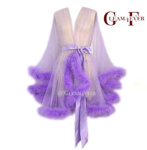 'Night In' Lilac Handmade Mini Sheer Feather Robe