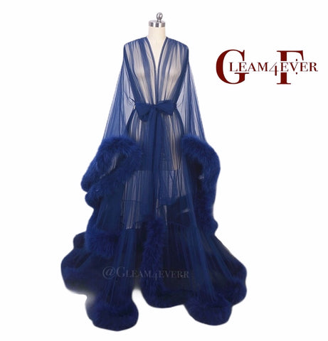 'Marry me' Navy Blue Handmade Sheer Extra Fluffy Feather Robe