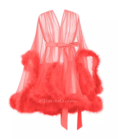 'Night In' Coral Handmade Mini Sheer Feather Robe