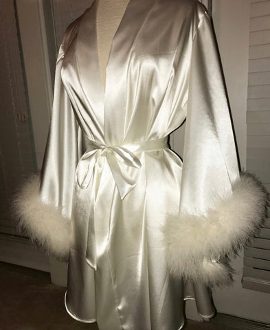 *PRE-ORDERS* 'Regal' White Handmade Mini Satin Dressing Gown/ Robe