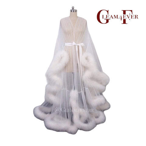 White sheer bridal feather robe