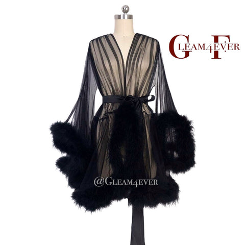 'Night In' Black Handmade Mini Sheer Feather Robe