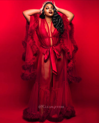 'Sugar daddy' Red Handmade Sheer Fluffy Long Marabou Feather Robe