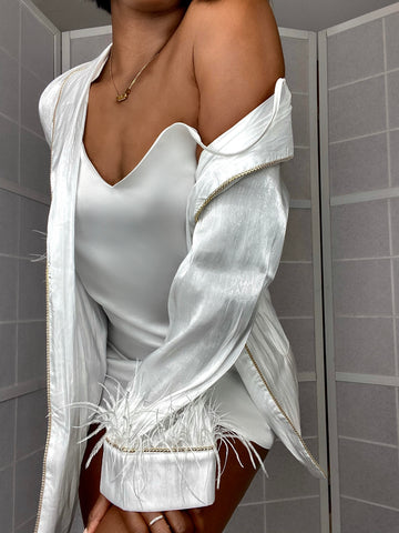 *PRE-ORDERS* 'Yvonne' White Handmade Mini Satin Dressing Gown/ Robe