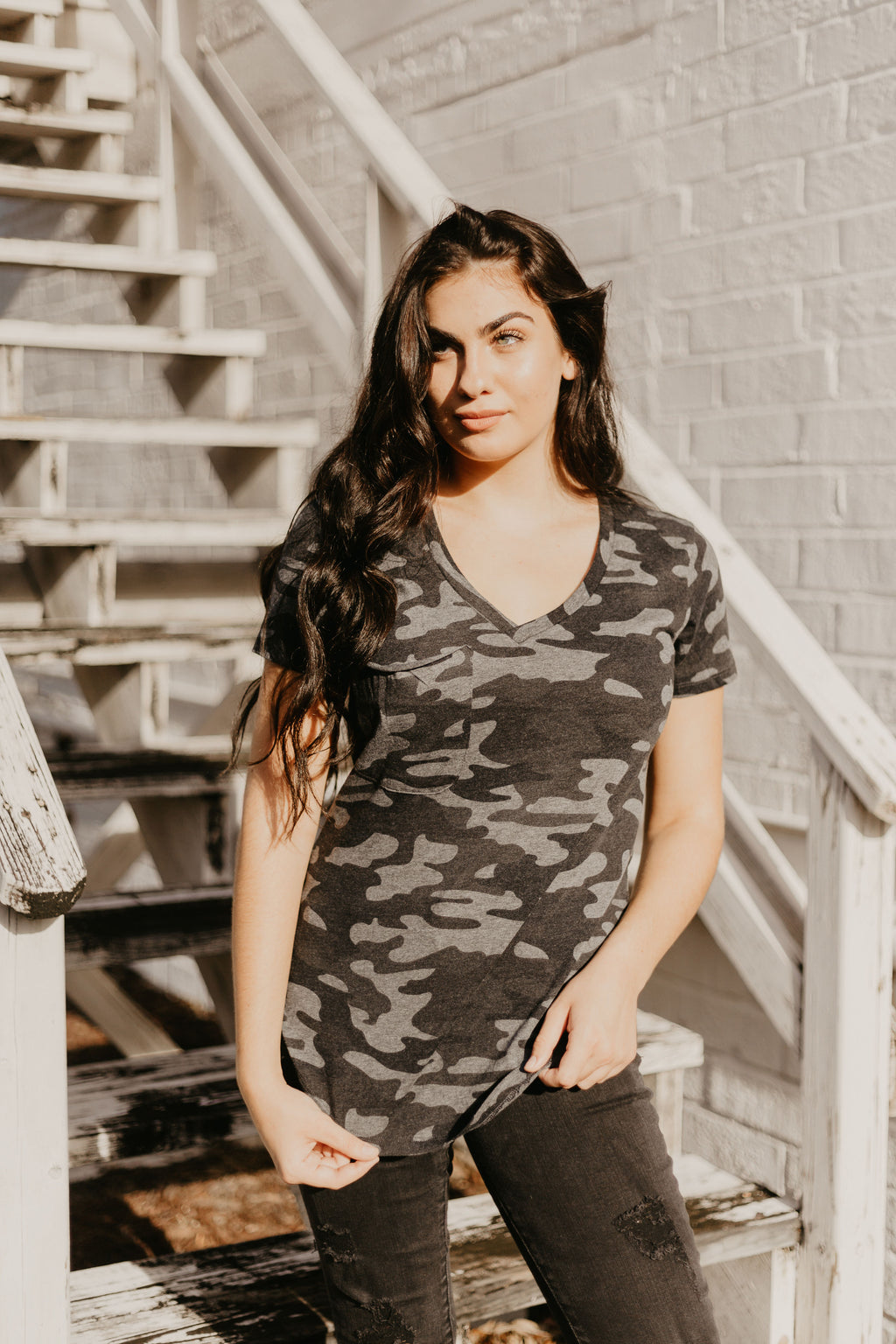 Blacked Out Z Supply Camo Pocket Tee - Parkside Harbor