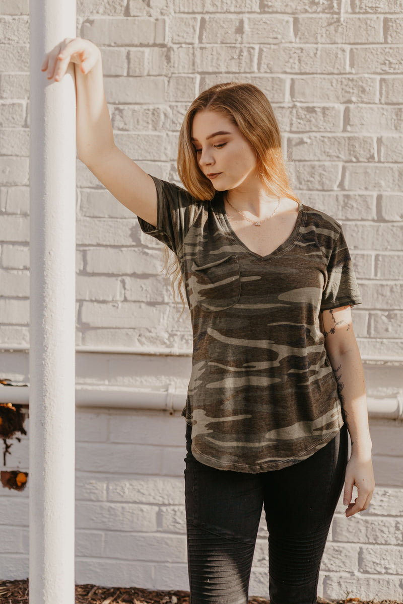 It's Simple Z Supply Camo Burnout Pocket Tee - Parkside Harbor