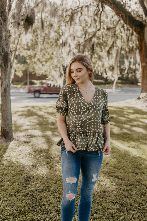 Live A Little Short Sleeve Button Up Blouse - Parkside Harbor