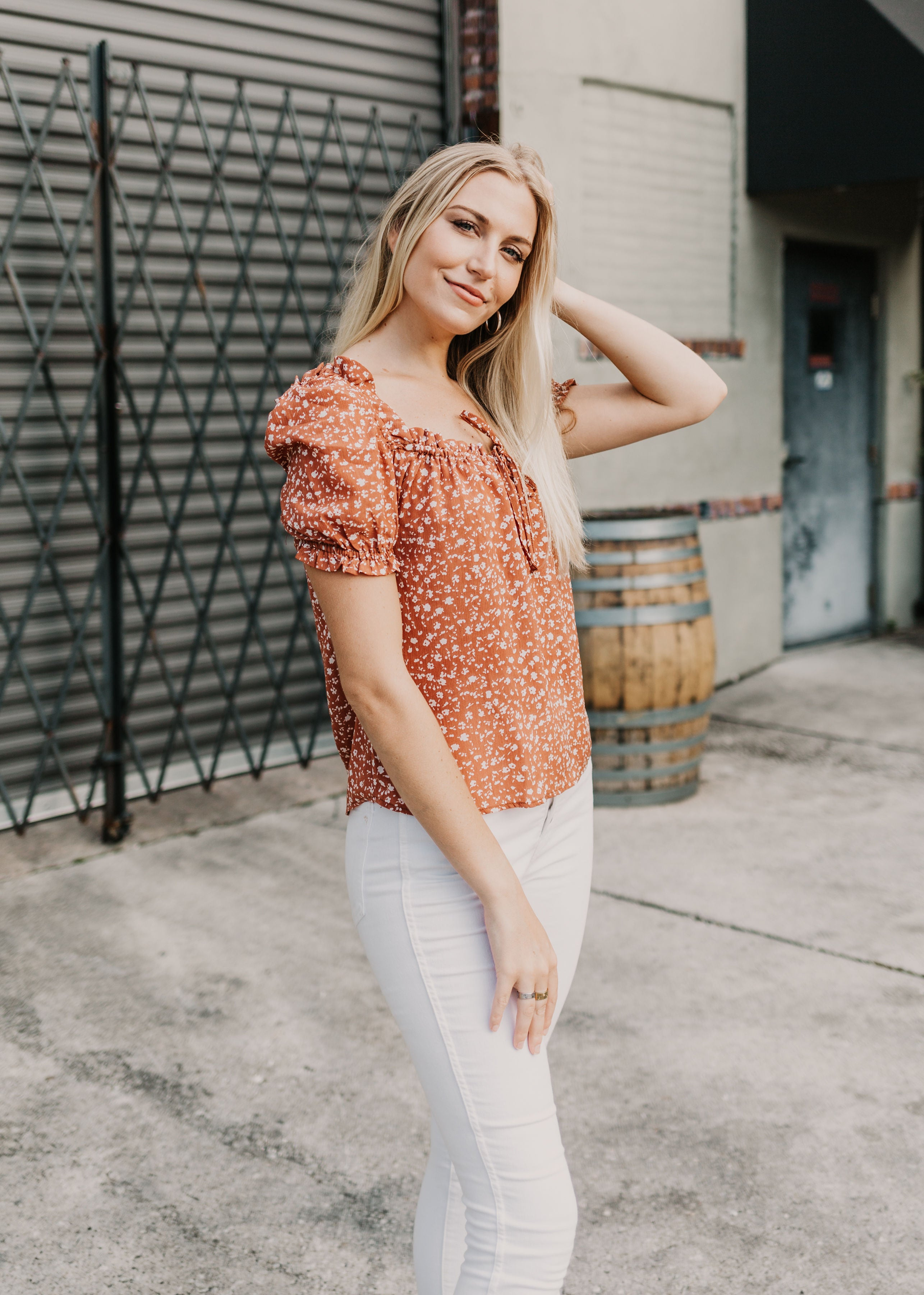 Start Me Up Floral Short Sleeve Blouse - Parkside Harbor