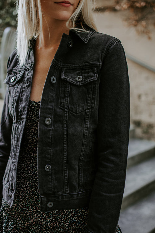Killer Black Denim Jacket - Parkside Harbor