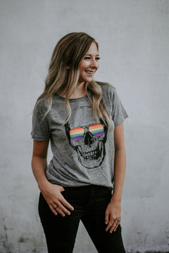 No Shade Chaser Rainbow Skull Tee