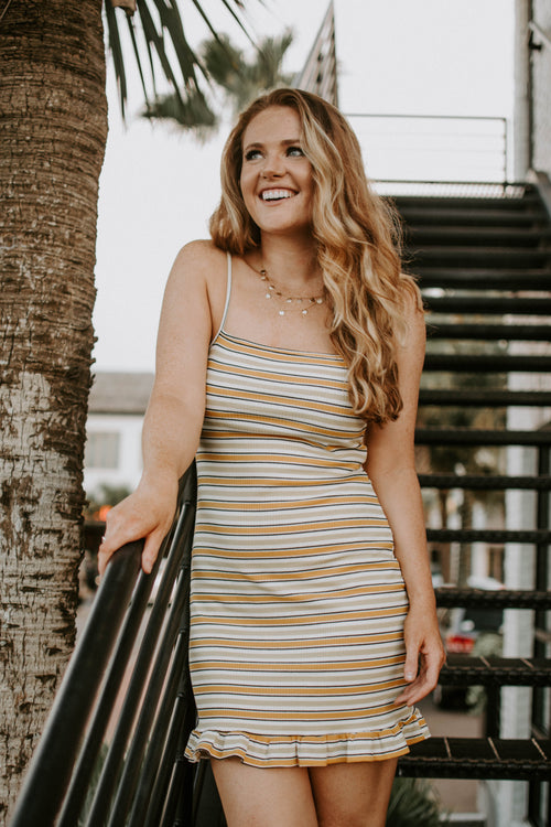 Play The Tunes Striped Ruffle Dress - Parkside Harbor