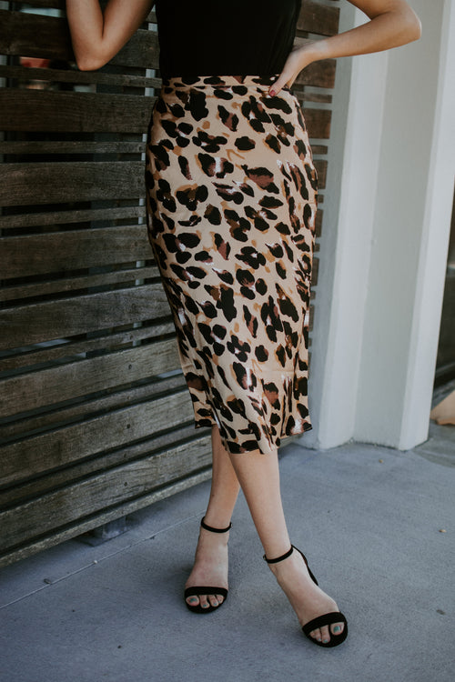 Love Your Spots Cheetah Midi Skirt - Parkside Harbor