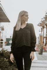 Down To Business Swiss Dot Long Sleeve Blouse - Parkside Harbor