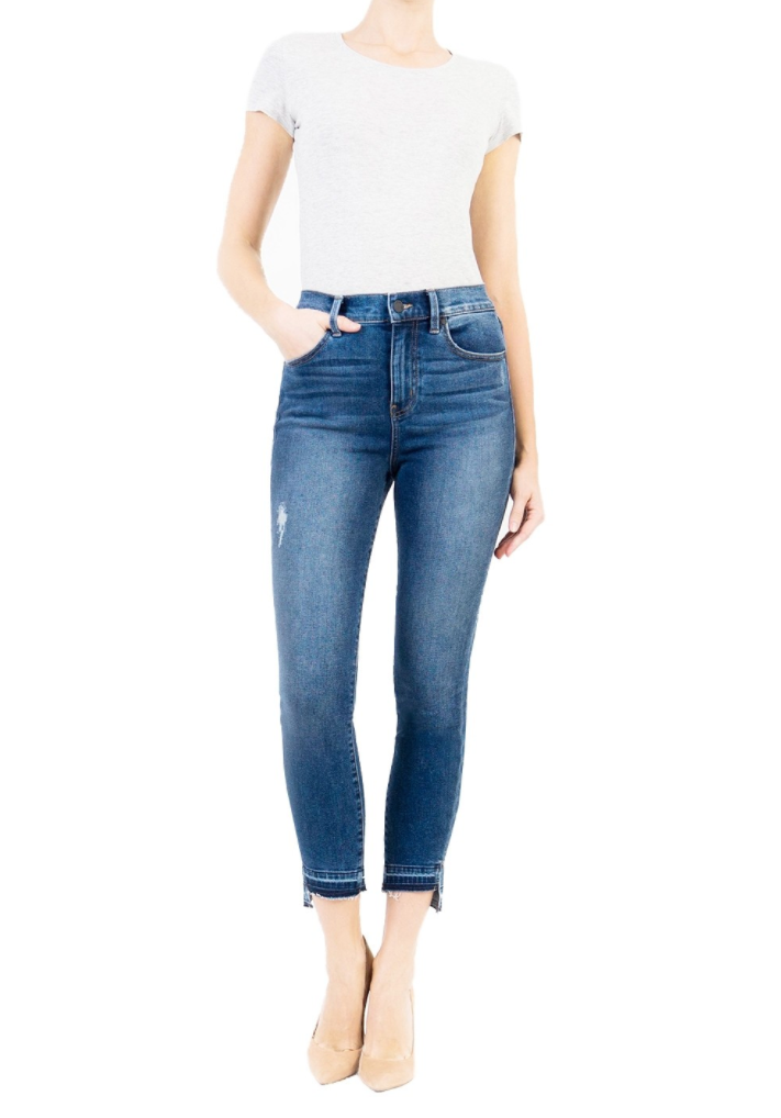 Level 99 Elle High Rise Uneven Hem Jean - Parkside Harbor