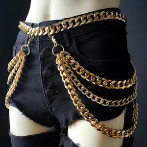 Shop FWHLR bodychains, jewelry and accessories. Our women's statement jewelry is influenced by rap style and hop hop culture.  All bodychain jewelry is made of thick gold chain making it durable, versatile and classic. The perfect chain belt for thick curvy sexy baddies.