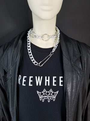 Shop FREEWHEELER. Accessories, Chains, Jewelry.  FWHLR specializes in creating statement pieces influenced by Hip Hop's style and rap  culture. The Safety-Pin chokers is made of thick silver chain and is meant to help men or women stand out. Visit FWHLR.COM and shop for custom designer jewellery.   FOR MY BADDIES!!!
