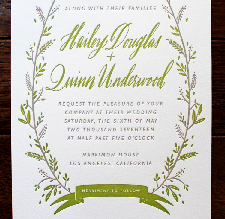Floral Chartresue Wedding Invitation Merriment to Follow