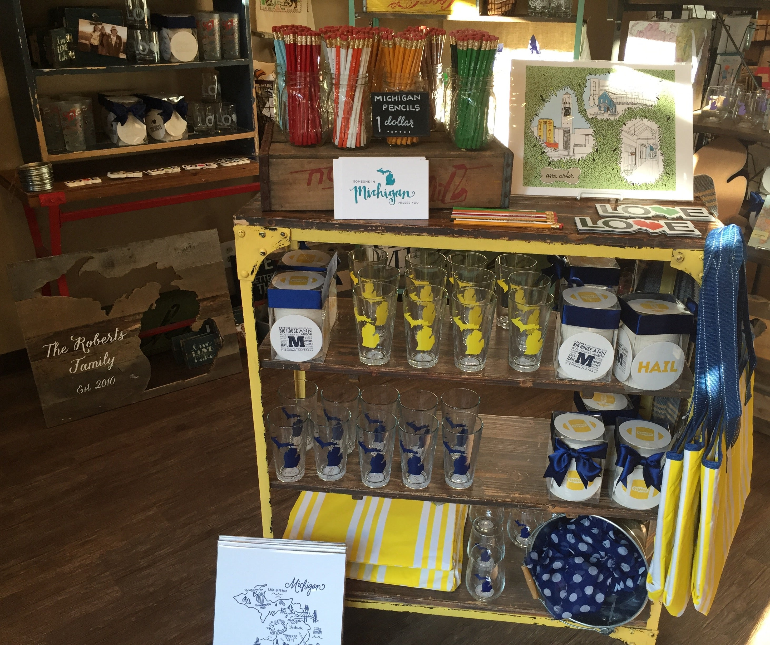 Take home a Michigan gift to remind you of your visit to Ann Arbor. Look at all that maize and blue!