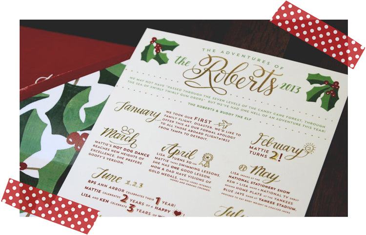 Letterpress Gold Foil and Ivy Letterpress Holiday Card Adventures of the Roberts