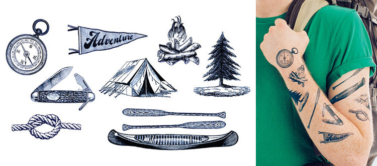 Tattly Adventure Temporary Tattoos Camp Set