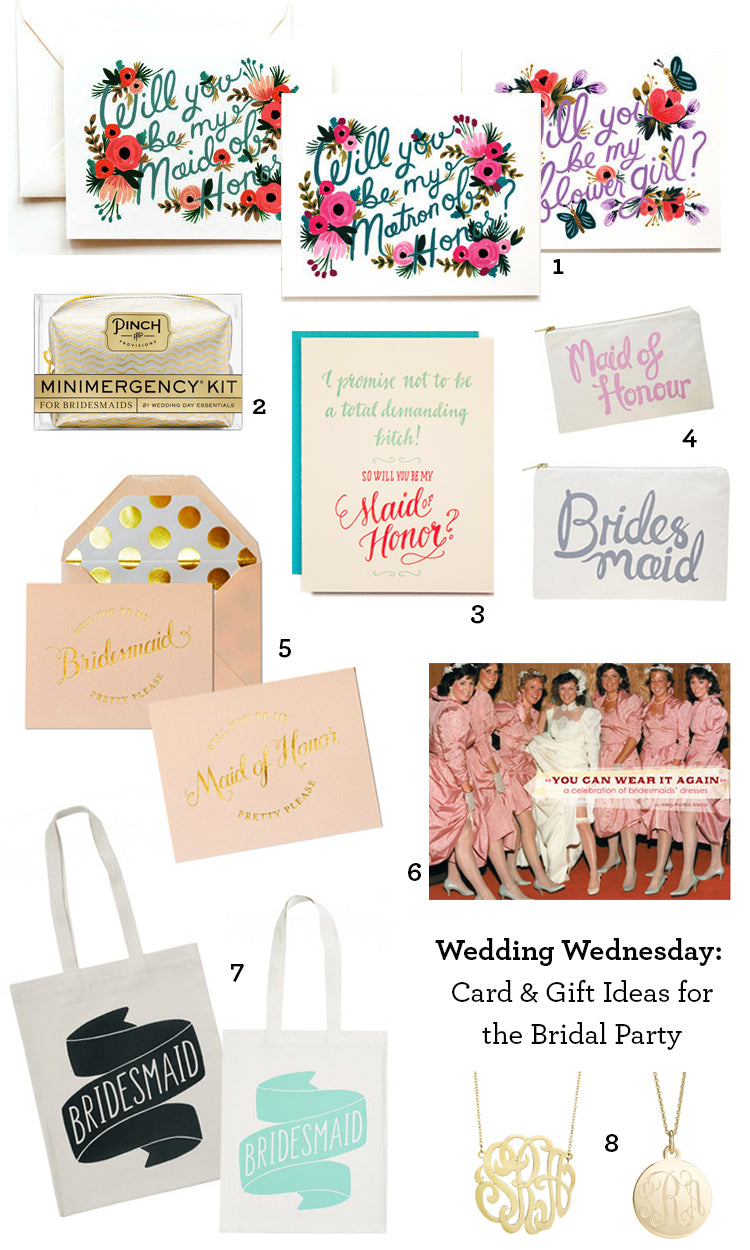 Wedding Wednesday Cards and Gifts for the Bridal Party Numbers Final