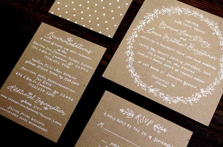 White Kraft Screenprint Floral Illustration Hand Lettered Wedding Invitation Suite