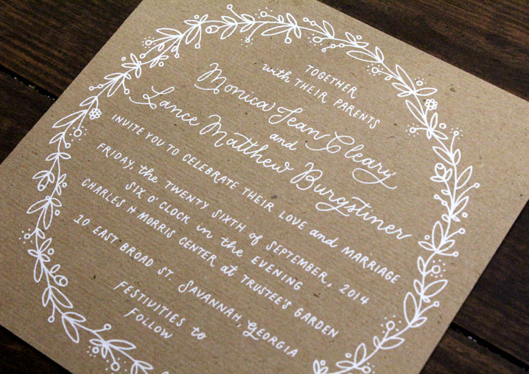 White and Kraft Screenprint Floral Illustration Hand Lettered Wedding Invitation Suite