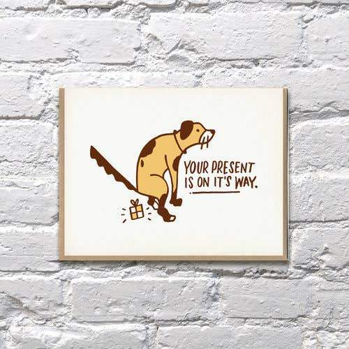 Dog Poop Present Birthday Card