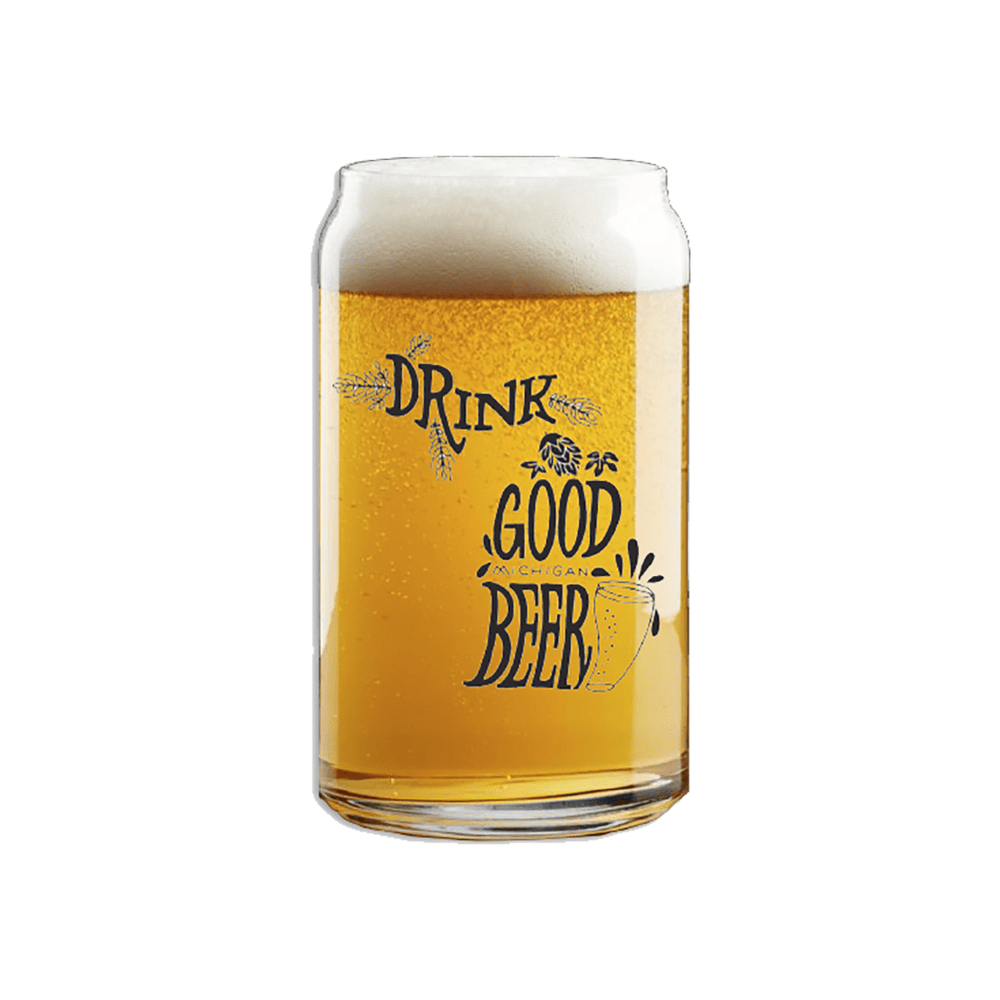 Drink Good Michigan Beer, Beer Can Pint Glass