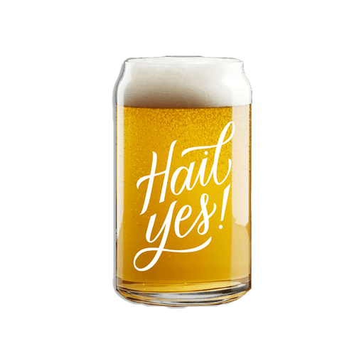 Hail Yes Beer Can Pint Glass