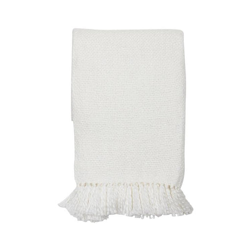 Handwoven White Throw