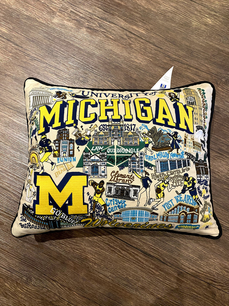 University of Michigan Hand Embroidered Pillow