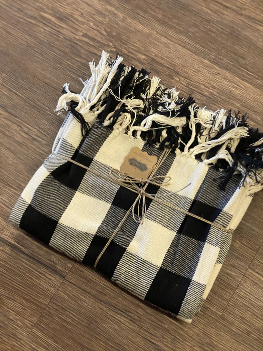 Black & Cream Plaid Throw