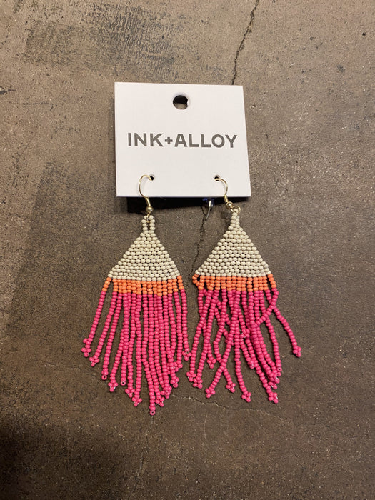 Ink & Alloy Patterned Seed Bead Earrings