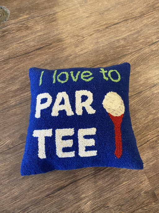 I Love to Par Tee Hooked Wool Pillow
